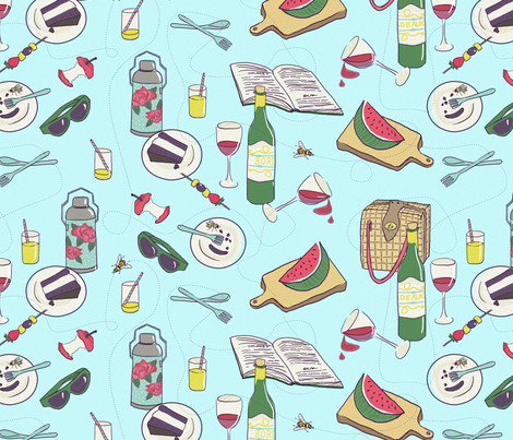 messy picnic fabric by ravynka on Spoonflower - custom fabric