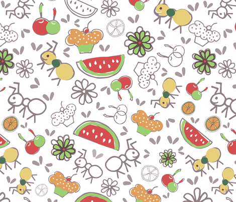 Ants Picnic fabric by sofia_figueiredo on Spoonflower - custom fabric