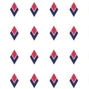 Diamond feathers - red and navy on white