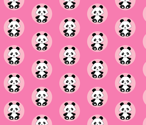 Jingjing's Panda Dots Pink fabric by aimee on Spoonflower - custom fabric