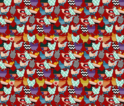 Cincinnati Chickens red small fabric by scrummy on Spoonflower - custom fabric