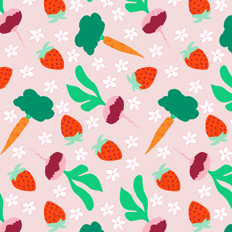 Ditzy Veggies Pink fabric by aimee on Spoonflower - custom fabric
