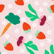 Ditzy Veggies Pink