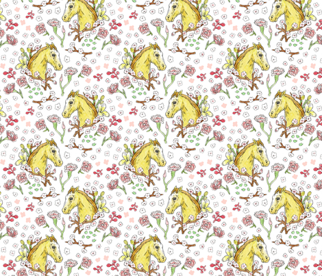 Horse Cameo With Flowers | Small fabric by imaginaryanimal on Spoonflower - custom fabric