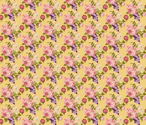 Half_Drop_Rose_Pink_Newest_yellow fabric by ©_lana_gordon_rast_ on Spoonflower - custom fabric