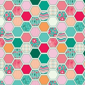 Elephant's Garden (Fuschia Raindrop) - Scalloped Hexagons