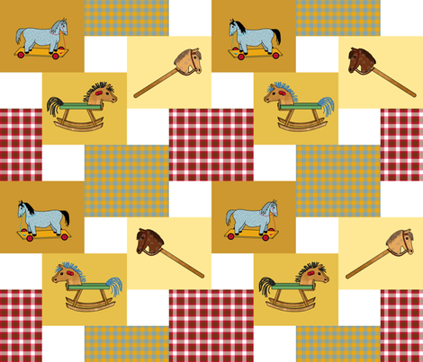 horses_double_steps_2x2__B_2 fabric by khowardquilts on Spoonflower - custom fabric