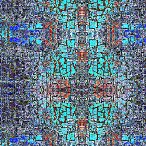 Blue Shrine - multi-colored, turquoise blue, red lightened fabric by materialsgirl on Spoonflower - custom fabric