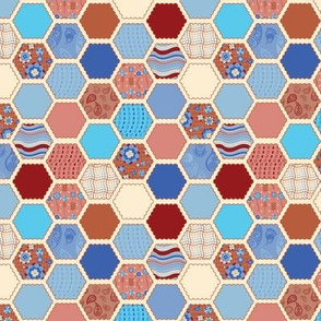 Elephant's Garden (Ruby & Ice) - Scalloped Hexagons