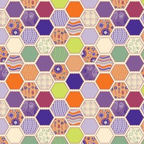 Elephant's Garden (Tangerine Violet) - Scalloped Hexagons