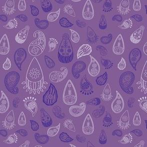Elephant's Garden (Tangerine Violet) - Violet Paisleys
