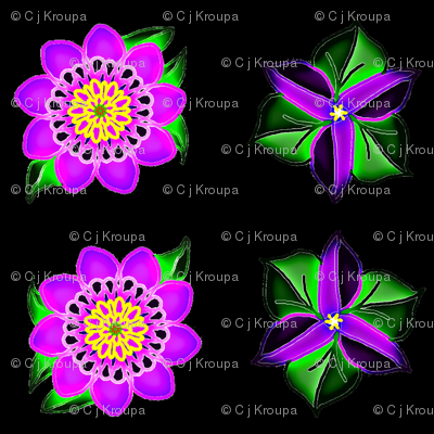 Neon Flowers on Black Velvet