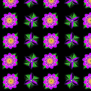 Neon Flowers on Black Velvet