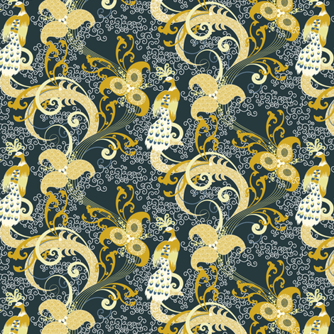 Golden Peacocks fabric by mag-o on Spoonflower - custom fabric