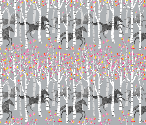 All the pretty little horses fabric by vo_aka_virginiao on Spoonflower - custom fabric