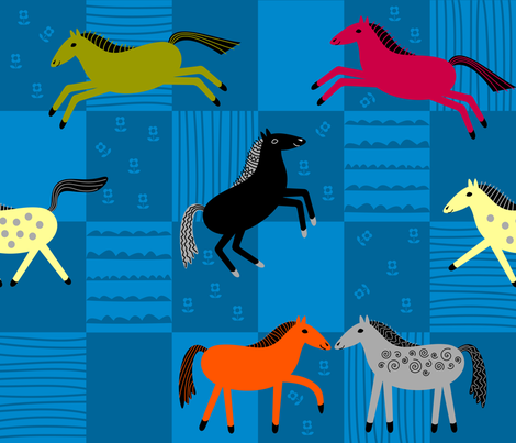 Happy Horses fabric by yellowstudio on Spoonflower - custom fabric