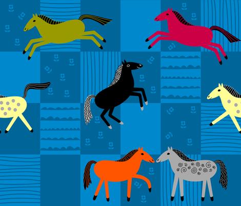 Happy Horses fabric by yellowstudio on Spoonflower - custom fabric