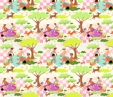 Forest Picnic 2 (warm background) fabric by vinpauld on Spoonflower - custom fabric