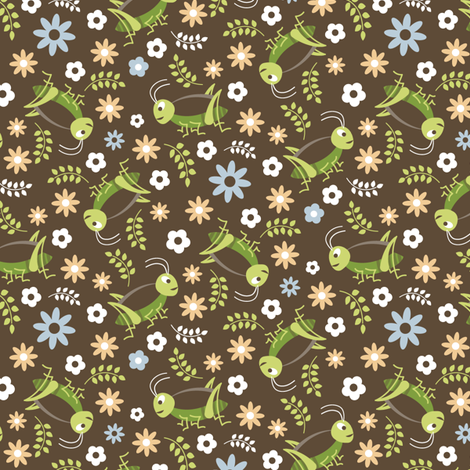 Ditsy Crickets & Daisies fabric by happyprintsshop on Spoonflower - custom fabric