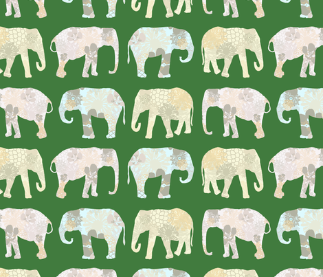 Elephant in flowers fabric by as-ydesignstudio on Spoonflower - custom fabric
