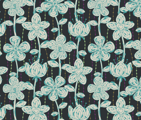 My spotted flowers in black fabric by juliagrifol on Spoonflower - custom fabric