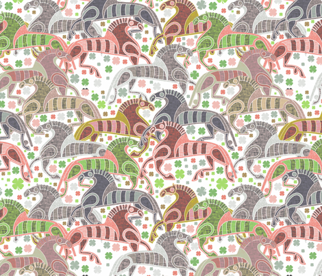 Nordic viking horses fabric by susiprint on Spoonflower - custom fabric