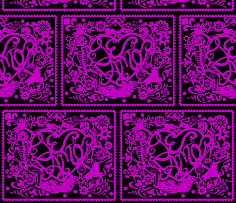 Day Of The Dead papel picado pink fabric by whimzwhirled on Spoonflower - custom fabric