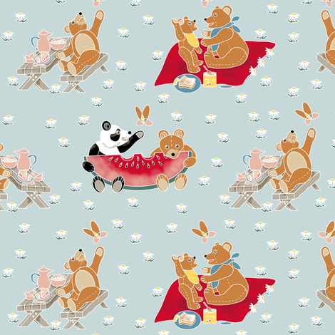 Teddy Bear Picnic fabric by eclectic_house on Spoonflower - custom fabric