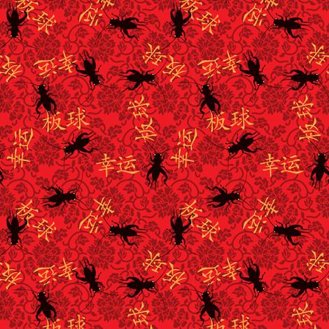 Chinese lucky cricket | xìngyùn bǎn qiú | 幸运板球 fabric by monmeehan on Spoonflower - custom fabric