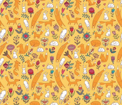 foxes, hares and flowers fabric by apolinarias on Spoonflower - custom fabric