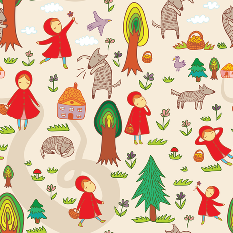 Red Riding Hood fabric by apolinarias on Spoonflower - custom fabric