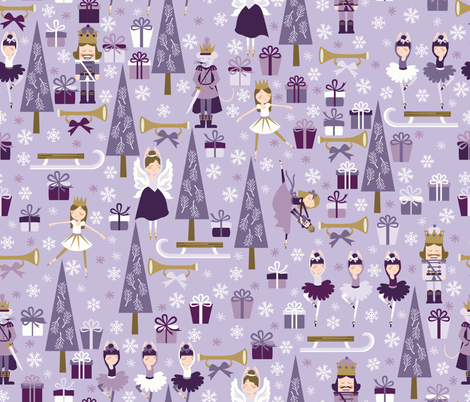 The Nutcracker in Purple fabric by oliveandruby on Spoonflower - custom fabric