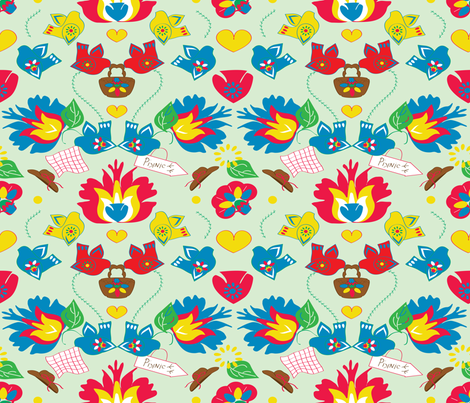 Every Birdy Loves A Picnic fabric by woolboxstudio on Spoonflower - custom fabric