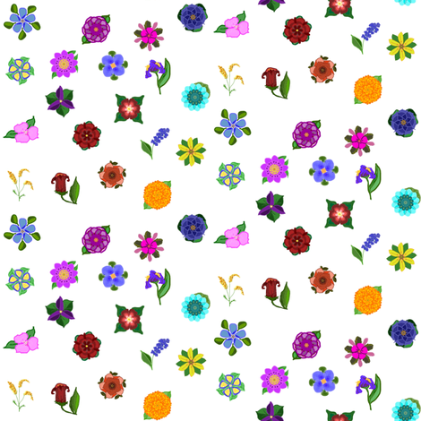 Floral Bouquet Ditsy fabric by ravynscache on Spoonflower - custom fabric
