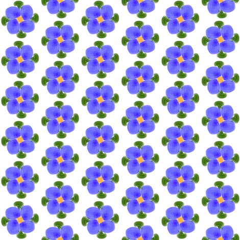 Primitive Blue Flowers fabric by ravynscache on Spoonflower - custom fabric