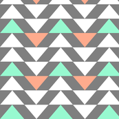 Mint, salmon, white triangles on grey