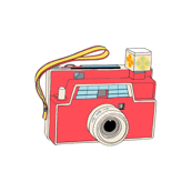 Vintage Toy Camera (Red) Wall Decal