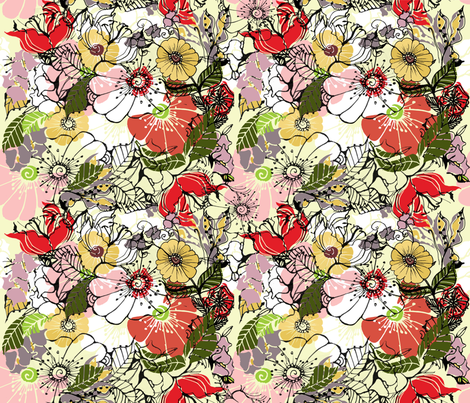 Floral  fabric by pettibear on Spoonflower - custom fabric