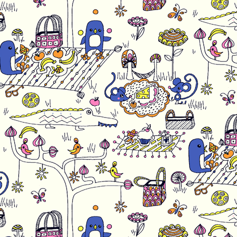 Happy Picnic-ers fabric by raebekah on Spoonflower - custom fabric