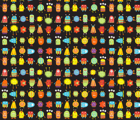 MUN-wmb_Monster_grid fabric by wendybentley on Spoonflower - custom fabric