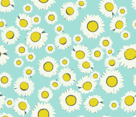 daisy field picnic fabric by redcabindesign on Spoonflower - custom fabric