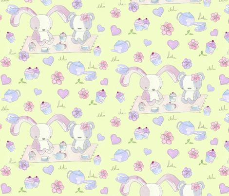 teddy bears picnic - green fabric by uzumakijo on Spoonflower - custom fabric