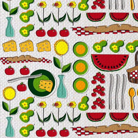 Fruit and Cheese Picnic  (Contest) fabric by vanillabeandesigns on Spoonflower - custom fabric