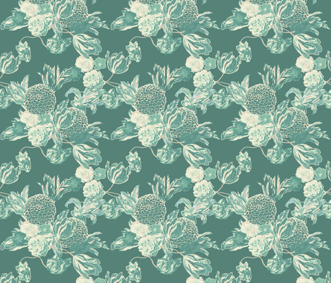 mid century modern floral ~ Hummingbird ~ medium fabric by peacoquettedesigns on Spoonflower - custom fabric