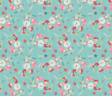 Mermaid Picnic fabric by meg56003 on Spoonflower - custom fabric