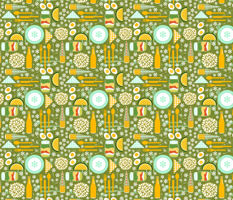 Flower Power Picnic fabric by nadiahassan on Spoonflower - custom fabric
