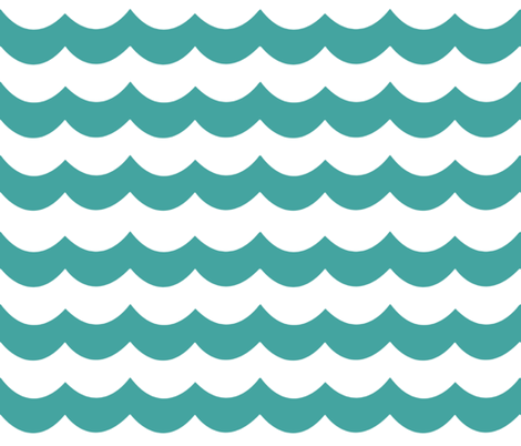 Chevron Waves in Peacock Teal fabric by sparrowsong on Spoonflower - custom fabric