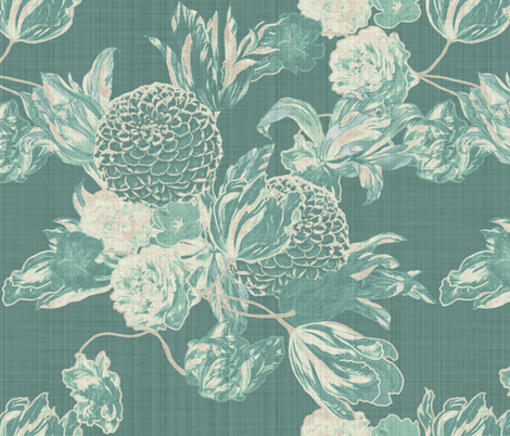 mid century modern floral ~ Hummingbird Linen fabric by peacoquettedesigns on Spoonflower - custom fabric