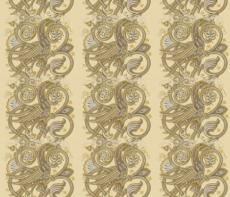 Celtic Bird ~ Beige Linen fabric by peacoquettedesigns on Spoonflower - custom fabric