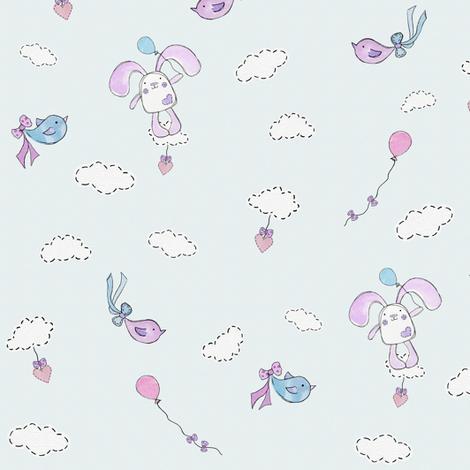 Bessies Blue Balloon fabric by uzumakijo on Spoonflower - custom fabric